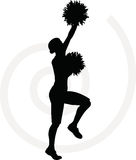 Flippiges Cheerleaderschattenbild Stockfoto