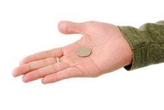 Flipping a coin Royalty Free Stock Image
