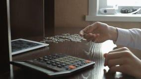 Flipping a coin filmed stock video