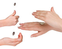 Flipping coins Stock Photo