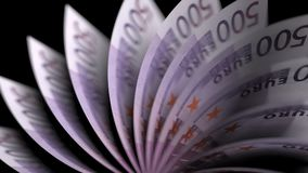 Flipping five hundred euro notes. 3D rendering. Flipping five hundred euro notes, close-up stock illustration