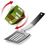 Flipping A House. An image of a house being flipped on a spatula stock illustration