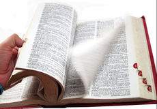 Flipping pages. Researching words in the dictionary Stock Image