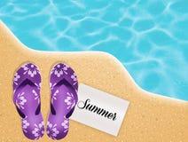 Flips-flops on the beach Stock Photos