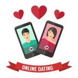 Датировка интернета, онлайн flirt и отношение Мобильный Стоковые Фото
