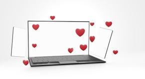 Flirt di datazione online del telefono cellulare del computer 3d-illustration online illustrazione di stock
