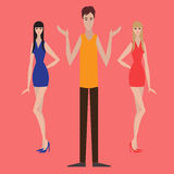 Flirt with fashion girls, choosing between blond and brunette models Royalty Free Stock Photos