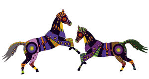Flirtation. Horses in the ethnic style of the various elements on a white background Royalty Free Stock Photography