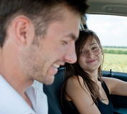 Flirtation in the car Stock Photos