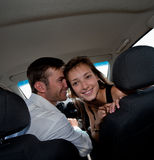 Flirtation in the car Stock Photo