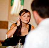 Flirtation of the nice girl, cafe dating man Royalty Free Stock Photography