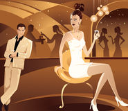 Flirtation. Vector illustration. The girl flirts with the man in a bar Stock Images
