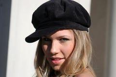 flirtatious женщина шлема стоковые фотографии rf