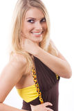 Flirtatious beautiful young blond woman Royalty Free Stock Photography