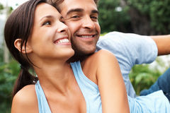 Flirtatious couple enjoying outdoors Stock Image