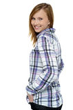 Flirtatious girl passing smile to you Royalty Free Stock Photos