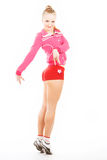 Flirtatious girl in pink. Lovely, flirtatious girl in pink dress isolated on white background stock photos