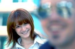 Flirtatious Lächeln stockfoto