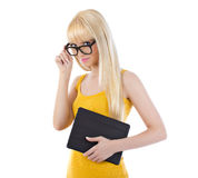 Flirtatious woman holding tablet Royalty Free Stock Photos
