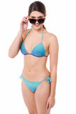 Flirtatious young babe in bikini and goggles Royalty Free Stock Photography