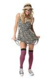 Flirtend junger Studenten-Wearing Dress Glasses-Hut Stockfoto
