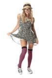 Flirtig ung student Wearing Mini Dress Royaltyfri Bild