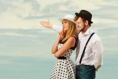 Flirting стиля любящих пар ретро внешний Стоковое Фото