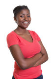 Flirting african american woman in a red shirt Stock Images