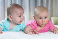 Flirting babies Royalty Free Stock Photo