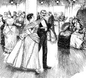 Flirting at the ball, vintage illustration. Gentleman flirts with young woman at the ball white two old spinsters look at them with great interest, vintage royalty free illustration