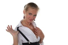 Flirting blond business woman Stock Photography