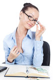 Flirting businesswoman on workplace Royalty Free Stock Photography