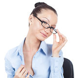 Flirting businesswoman on workplace Stock Images
