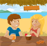 Flirting couple. In a beach bar Stock Photos