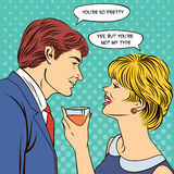 Flirting Couple. Woman Drinking Champagne Royalty Free Stock Photos