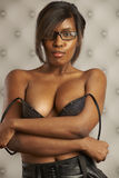 Flirting Model Black Bustier Stock Photo