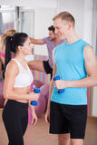 Flirting with personal trainer Stock Image