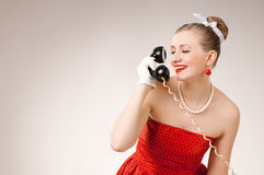 Flirting on the phone Royalty Free Stock Photos