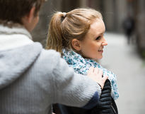 Flirting at the street Stock Photo