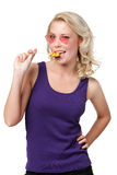 Flirting woman with lollypop Stock Image