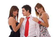 Flirting young people Royalty Free Stock Photo