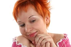 Flirting young red haired woman Royalty Free Stock Photos