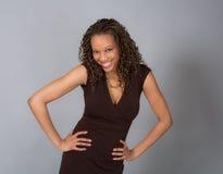 flirty微笑的妇女年轻人 免版税图库摄影