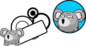 Flirty ball koala cartoon expression copyspace sticker Royalty Free Stock Photography