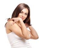 Flirty brunette girl dream Stock Photo
