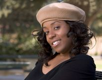 Flirty girl. Portrait of Flirty African-American in the park Stock Photography