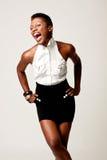 flirty kvinna för svart affär Arkivfoto