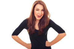Flirty woman. Bright emotional portrait in studio royalty free stock photo