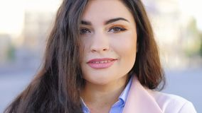 Flirty woman portrait smiling female hair closeup stock footage