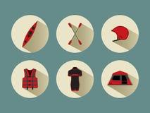 Flisactwo ustawia ikony z cieniami w czerwonym kolorze Obrazy Royalty Free